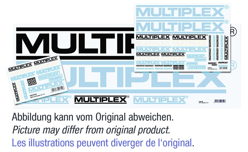 Aufklebersatz MPX-Logo schwarz/silber/weiß 100x35c